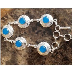 "Jewelry - Blue Chalcedony Bracelet 8.5"" long"